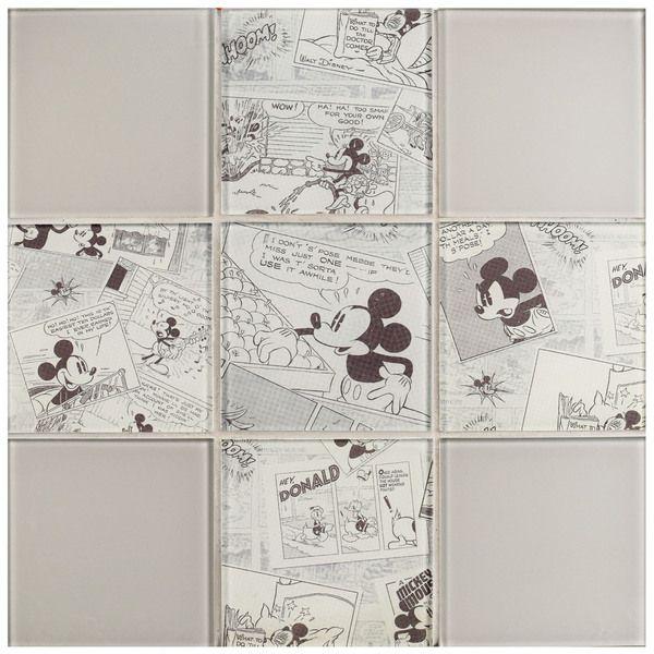 Disney 11.75x11.75-inch Mickey Vintage Glass Mosaic Wall Tile