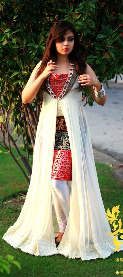 White and red dress by jannat nazir