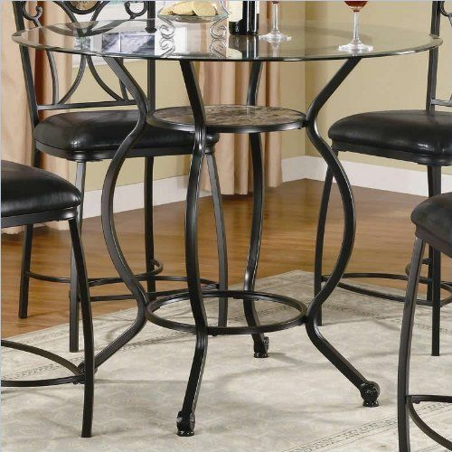 Coaster Monroe Counter Height Dining Table with Round Beveled Glass Top by Coaster Home Furnishings. $289.99. This lovely casual counter height dining table will be a wonderful addition to your home. The elegantly curved black metal base features a round shelf with textural stone for a unique look, offering a great spot to stash small items to reduce clutter. A sleek round beveled glass top adds a sophisticated touch to this table. Pair with the matching stools ...