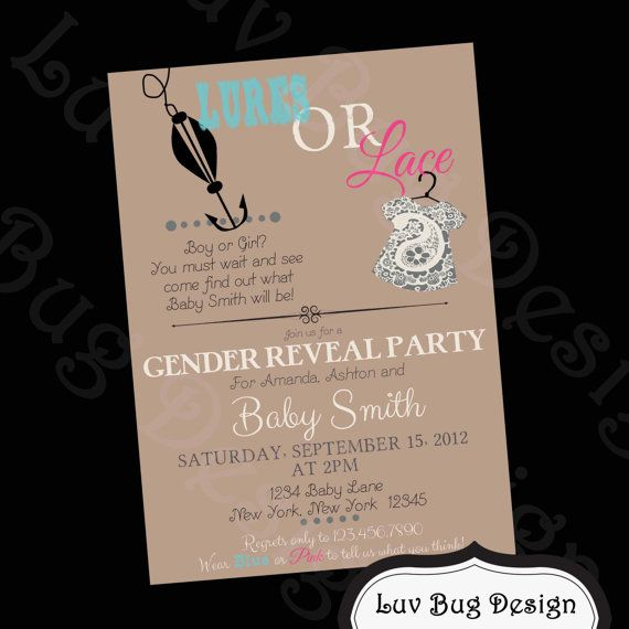 chrome hearts ring GENDER REVEAL or Baby Shower Lures or Lace Party invitation-Printable party invitations by Luv Bug Design on Etsy, $14.00