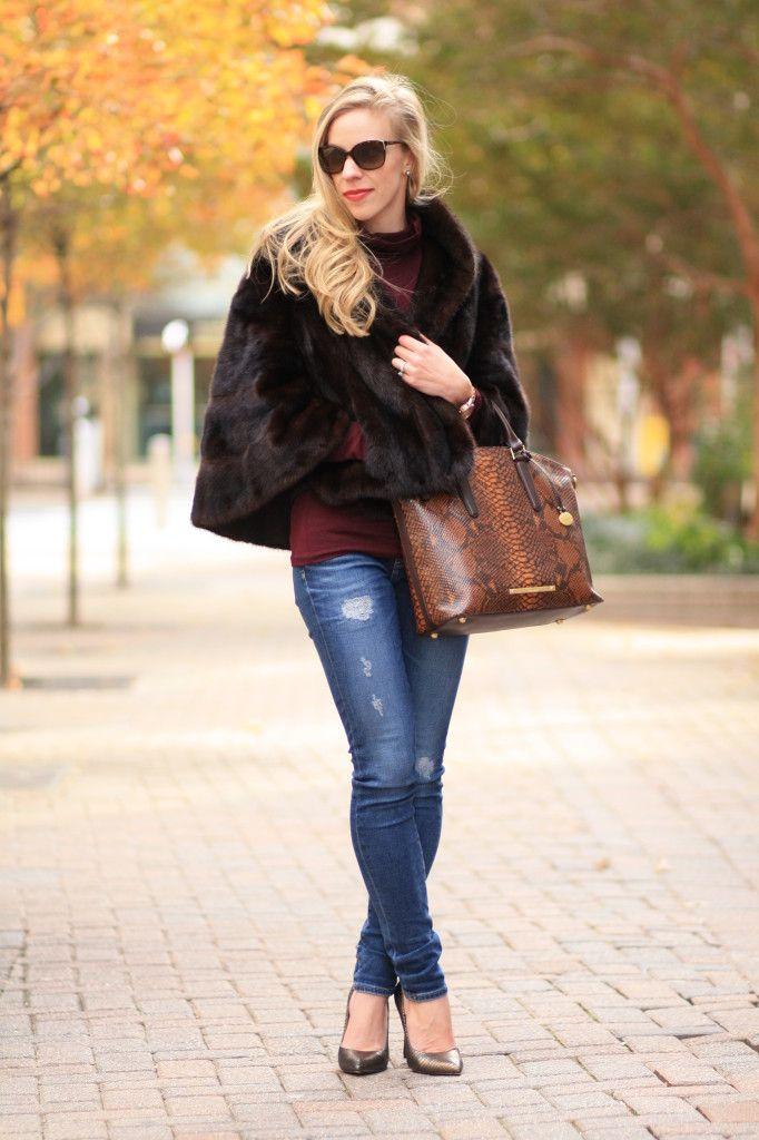 Ultimate Warmth: fur cape, distressed denim, fur jacket, burgundy, bronze pumps, snakeskin, Brahmin tortoise seville 'Duxbury' satchel, winter outfit with fur jacket, fur jacket worn casually
