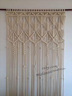 Cortina de macrame. HECHO A MANO. Cortina de macrame de macrame colgante de pared, crudo. Curtain.cotton de puerta 6mm