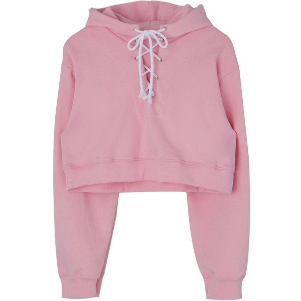 Lace-Up Front Cropped Hoodie (£26) ❤ liked on Polyvore featuring tops, hoodies, sweaters, cropped hooded sweatshirt, urban hoodies, long-sleeve crop tops, sweatshirt hoodies and hoodie crop top