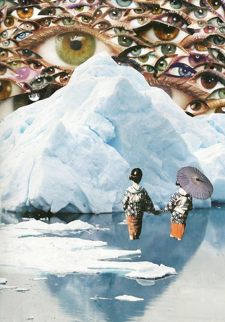 The sixteen year-old Caroline Alkire creates stunning, surreal collages of old National Georaphic magazines.
