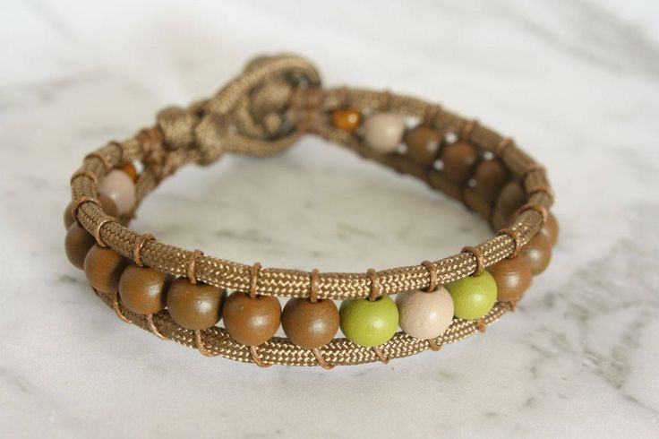 Brown Paracord Bracelet, Beaded Paracord Bracelet, Rugged Bracelet, Unisex Bracelet, Brown Cream Lime Green Paracord Bracelet by LeatherTrove on Etsy