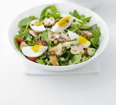 Hot-smoked salmon & egg salad. Ingredients: eggs, spinach, cherry ...