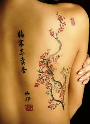 I've always had a thing for cherry blossoms. Pretty on her....I'd love to do this but make it from my waist to my shoulder.