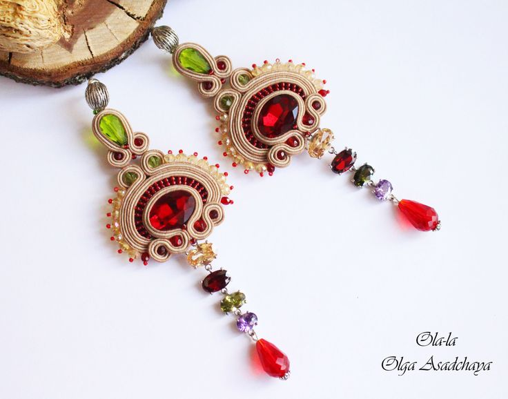 "Earrings ""Flower of the Desert"" soutache, crystal rhinestones, pendants with zirconia, crystal and glass beads, Japanese beads"