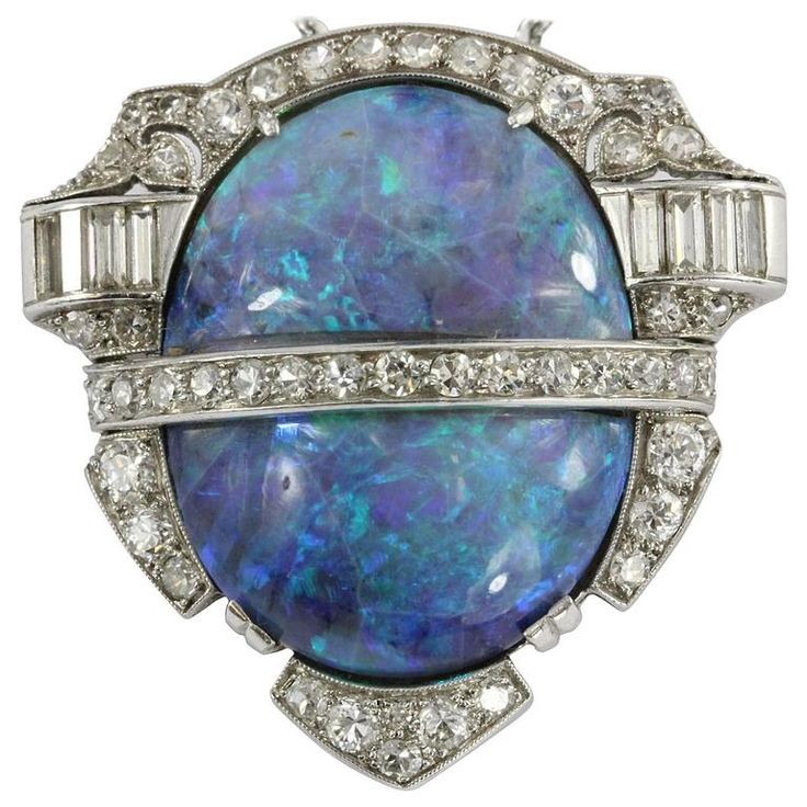 Rare Art Deco Australian Black Opal Diamond Platinum Pendant Brooch 1 #opalsaustralia