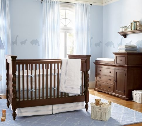 Blue Decor With Dark Wood Furniture Pique Nursery Bedding Pottery Barn Kids Baby