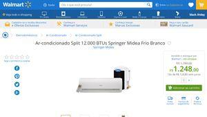 [Wal-Mart] Ar - condicionado Split 12.000 BTUs Springer Midea Frio Branco 3326538 - de R$ 1.260,48 por R$ 1.248,00 (1% de desconto)
