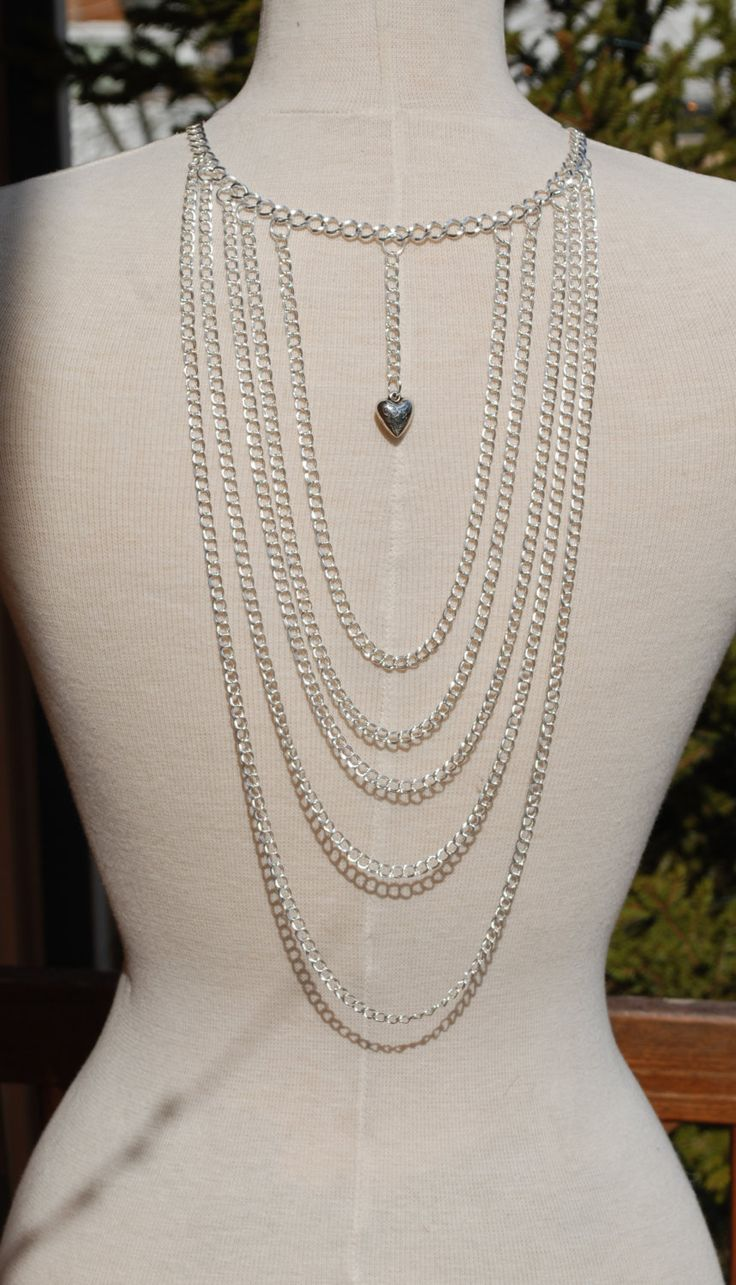 Back drop necklace silver plated chain back necklace, back jewelry by leonorafi on Etsy