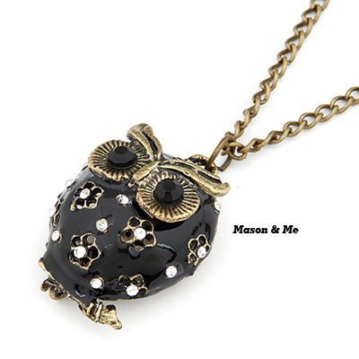 Costume Black Owl Pendant Alloy Korean Necklaces Black. Small and catchy. REPIN if you like it.😍 Only 37 IDR