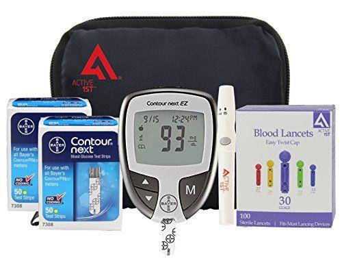 Diabetes Testing Kit (Bayer Contour NEXT EZ Meter + 100 Bayer Contour NEXT Test Strips + 100 Active1st 30g Lancets + Lancing Device + Control Solution)