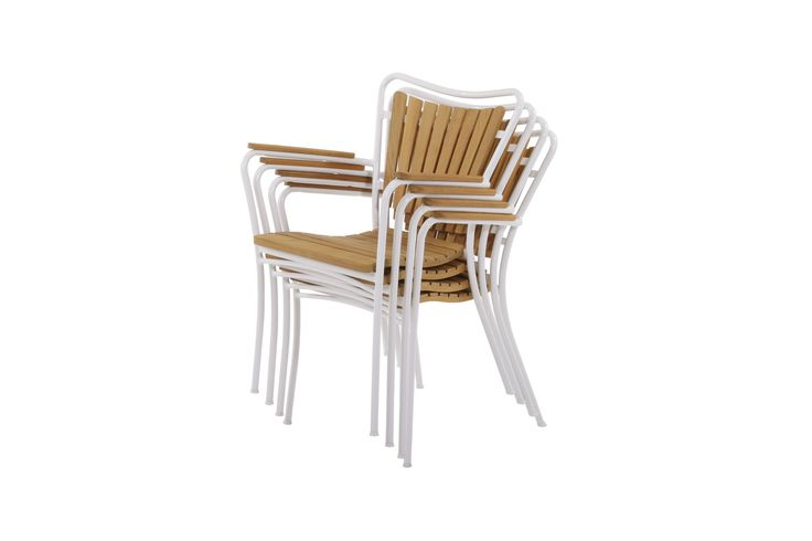 The Marguerit stackable chair - teak and aluminum frame.  See the Marguerit patio furniture at www.mandalay.dk