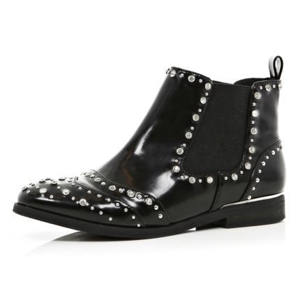 Black patent gem studded chelsea boots - ankle boots - shoes / boots - women  50.00