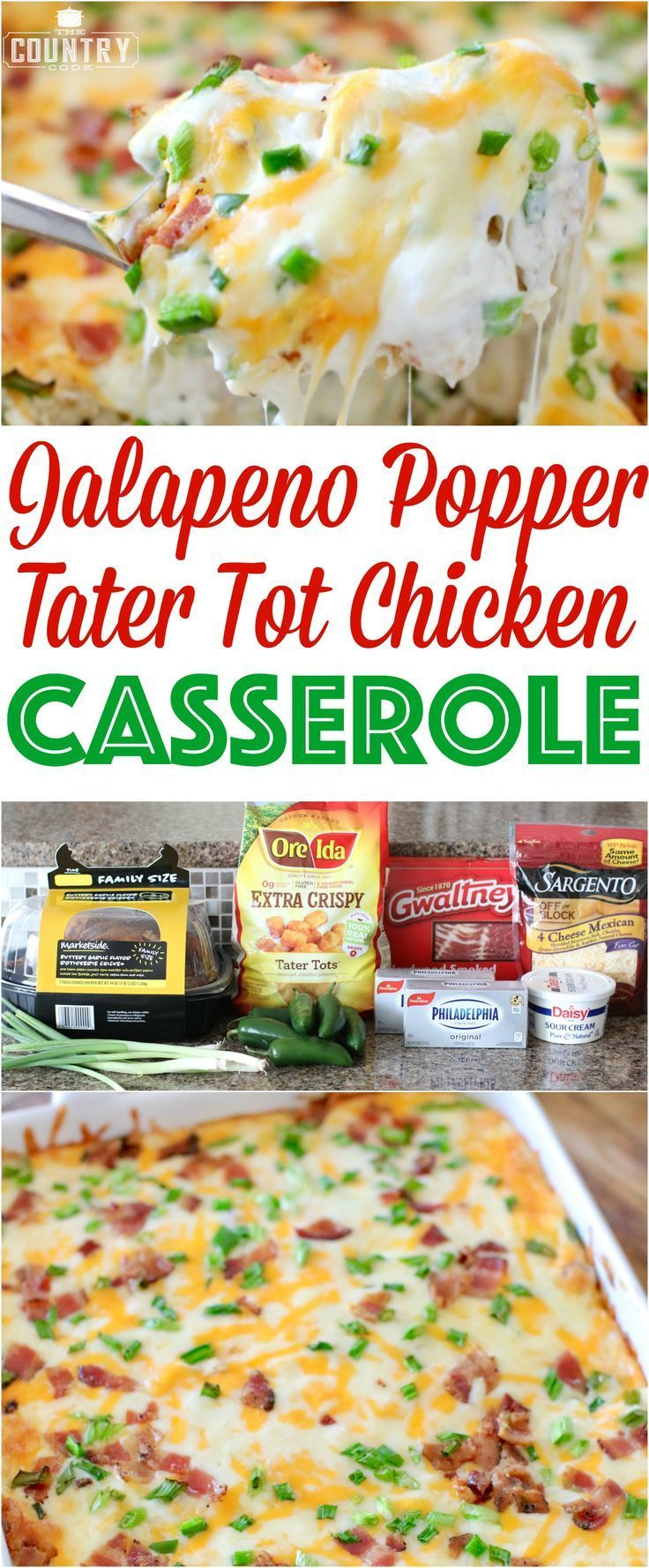 Jalapeno Popper Tater Tot Chicken Casserole recipe from The Country Cook #mexican_recipes_chicken