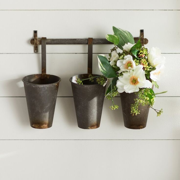 Laurel Foundry Modern Farmhouse Farm Metal Wall Rack And 3 Tin Pot With Hanger Wall Decor Reviews W Farmhouse Wall Decor Compass Wall Decor Baskets On Wall