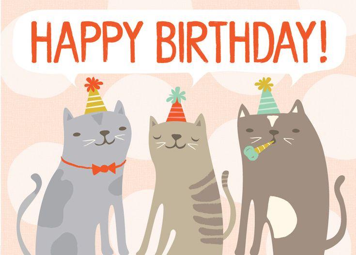 Открытки с днем рождения прикольные с котом