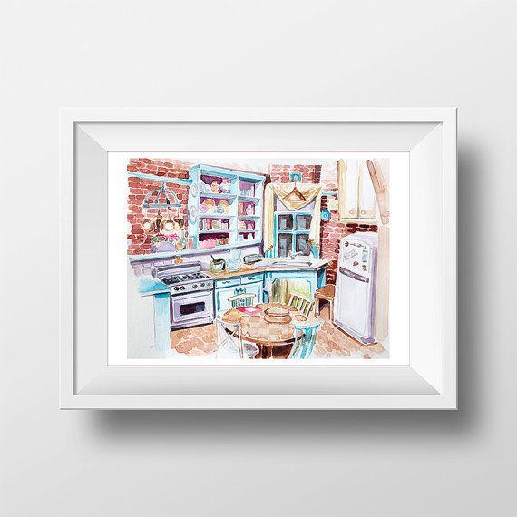 Wall Art vrienden TV Show Monica's appartement keuken