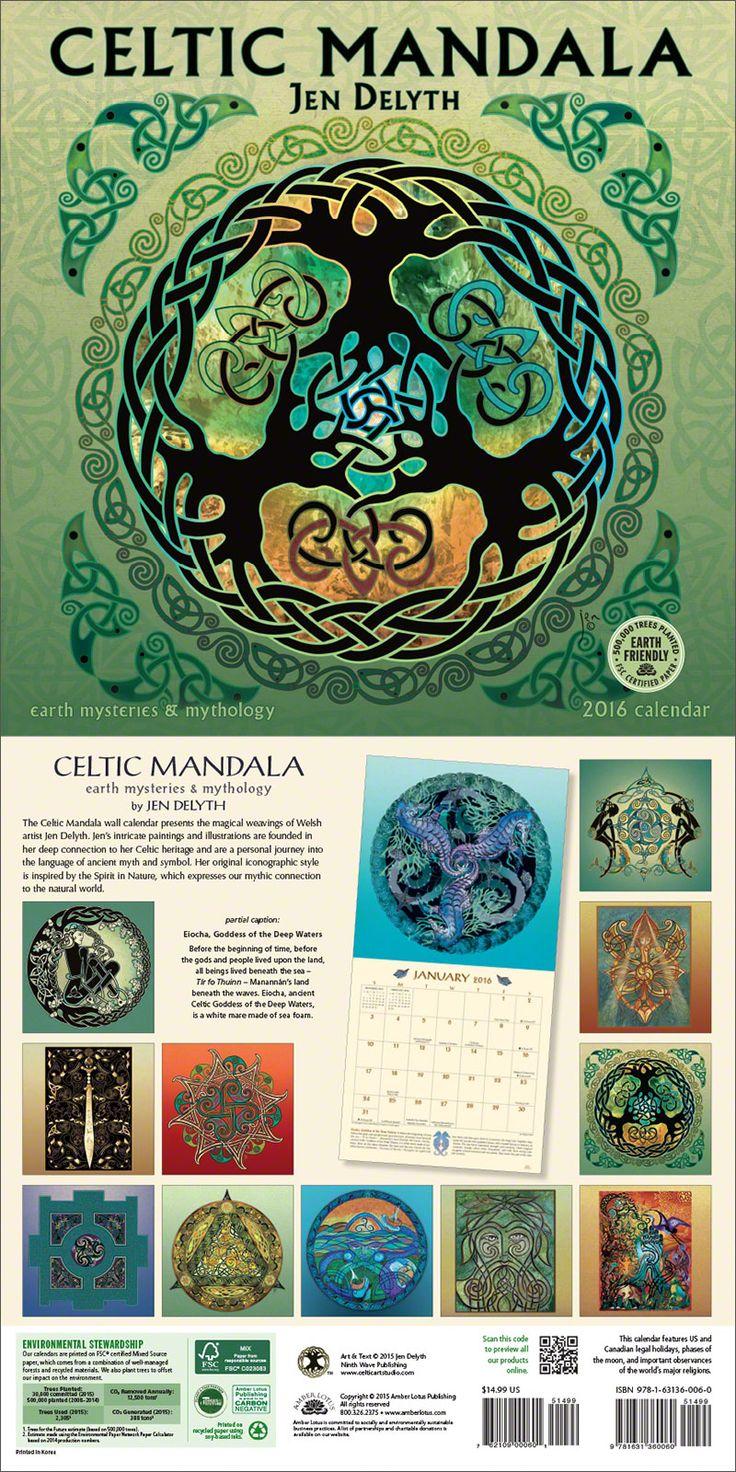 Owl greeting card set welsh artist jen delyth celtic art studio - Celtic Mandala 2016 Wall Calendar Featuring Celtic Knot And Mandala Artwork By Jen Delyth Click