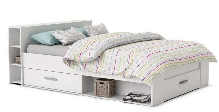 Pocket Sengeramme - Hvid - Hvid sengeramme til springmadras. 6 små hylder i hovedgærdet der kan benyttes som sengebord. De 3 skuffer under sengen gør det muligt at opbevare sengelinned mm. Ideel sengeramme til det mindre værelse, som giver maksimal udnyttelse af pladsen.