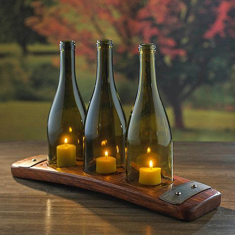 Reclaimed Barrel Stave Candle Holder with 3 Wine Bottles at Wine Enthusiast - $79.95 {wineglasswriter.com/}