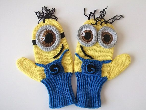 Free Crochet Pattern Minion Mitts : COTTON-Adult,Kids,Baby,Despicable Me Minion Mittens Gloves ...