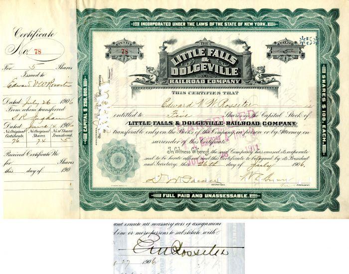 New York New Haven /& Hartford Railroad Company Bond Stock Certificate 1897