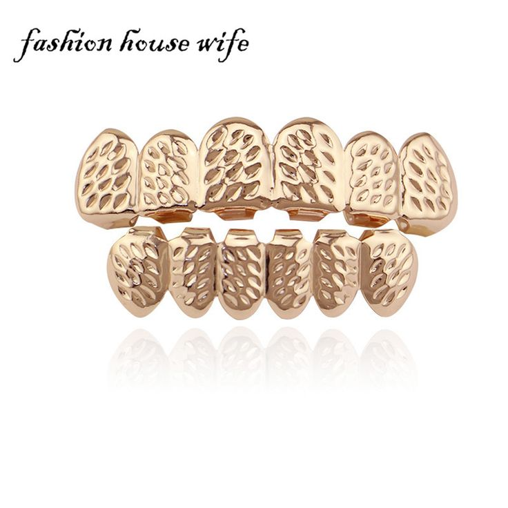Fashion  Rose Gold Cut Teeth Grillz Hip Hop Tooth Grillz Vampire Teeth Caps For Halloween Christmas Jewelry Gift NL0012