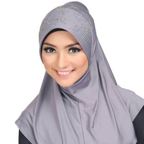 Model Jilbab Syari Cantik Terbaru Abu-abu 2015