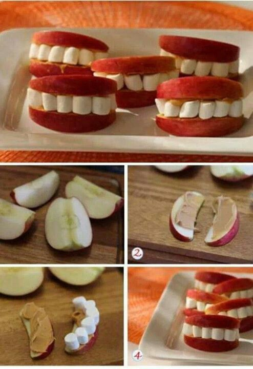 Jablko, krém a mini marshmallows  Fun Fall snack for kids- apple smile- apples, peanut butter, and mini marshmallows
