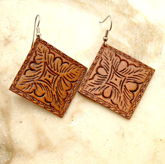 Carved Leather Earrings by TILTadornments on Etsy, $22.00
