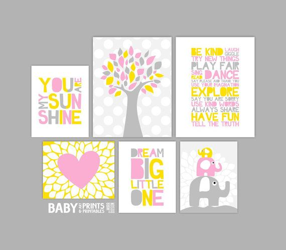 Yellow Pink Grey Nursery art prints Elephants by babyartprints, $98.00
