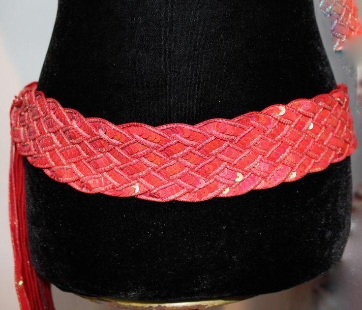 Gevlochten riem / ceintuur met pailletten versiering ROOD - Sequinned braided belt ROOD