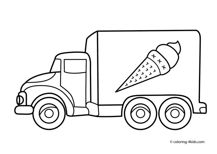 Ice Cream Truck Transportation Coloring Pages For Kids Printable Free
