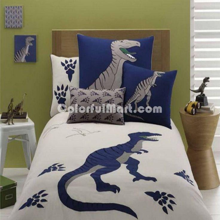 Attractive Embroidered Gray Dinosaur Bedding Set