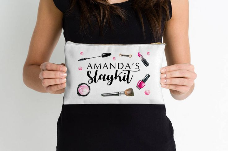Slay Kit Personalized Makeup Bag - Hot Pink Makeup Bag Zipper Pouch - Cotton Canvas Cosmetic Bag White - Watercolor Bag Gift for Her Slaykit by PaintTheDayHome on Etsy