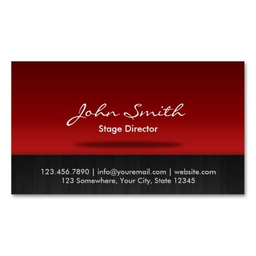 54 best red business cards images on pinterest business cards red stage stage director business card reheart Choice Image
