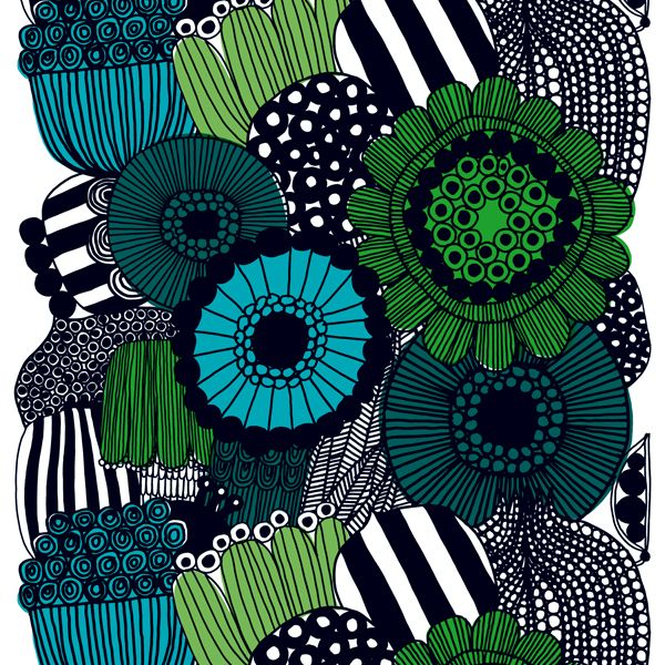 Siirtolapuutarha fabric, green, by Marimekko.