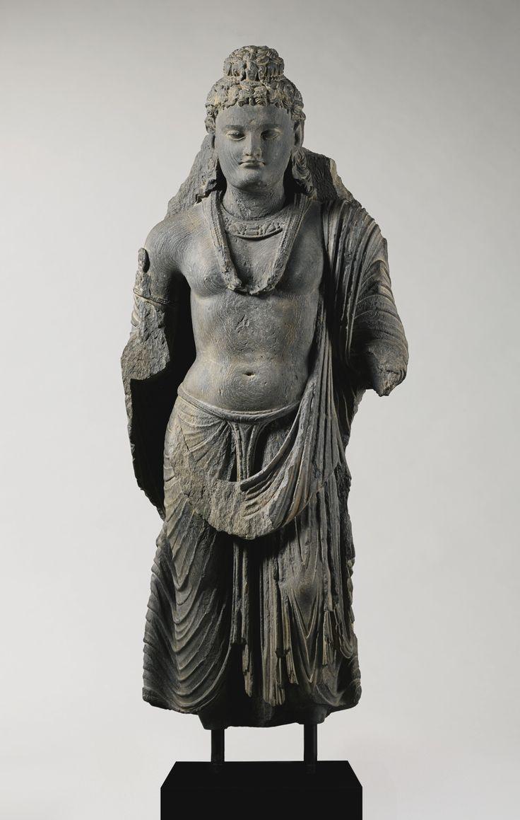 A Grey Schist Figure of a Standing Bodhisattva Height: 36 3/4  in. (93.4 cm) Ancient region of Gandhara, Kushan period, 2nd/3rd century