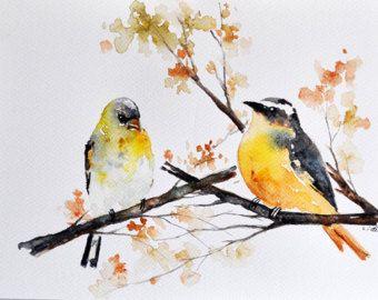 Pintura acuarela Ave ORIGINAL Robin colorida y por ArtCornerShop