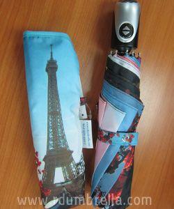 umbrella 3 ตอนเปิด-ปิด อลูกลม 8 ซี่ ลายดอกไม้ปารีส
