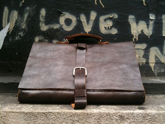 "Handmade leather messenger briefcase - leather lap top soft sided satchel bag ""mens work bag"" hand stitched on Etsy, $399.00"