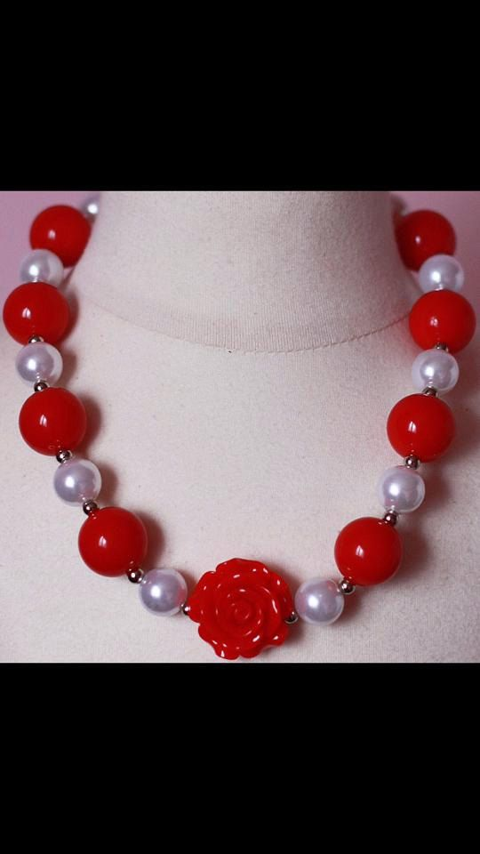 Rose chunky necklace Valetine's Day by Fashiontots1 on Etsy | valentines | Pinterest | Etsy
