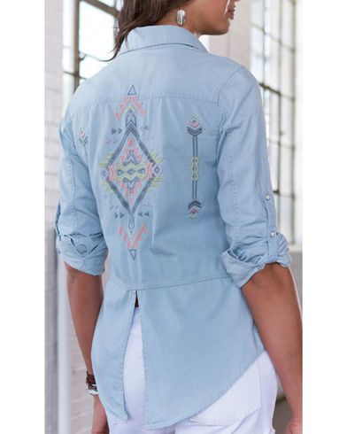 Ryan Michael Women's Embroidered Indigo Shirt - Country Outfitter