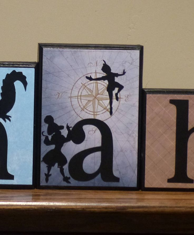 Peter Pan Name Blocks Routed Edge Captain Hook Peter Pan Tinkerbell Neverland Compass Disney Large Wood Letters nursery decor Name Baby by TarasBlocks on Etsy https://www.etsy.com/listing/535543817/peter-pan-name-blocks-routed-edge