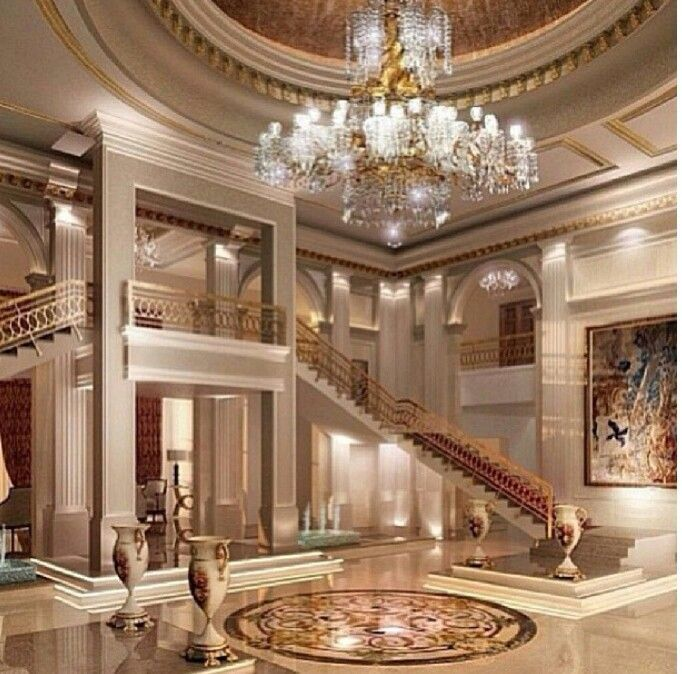 Luxury Mansion Foyer : Foyer double stairs luxury interior paneling