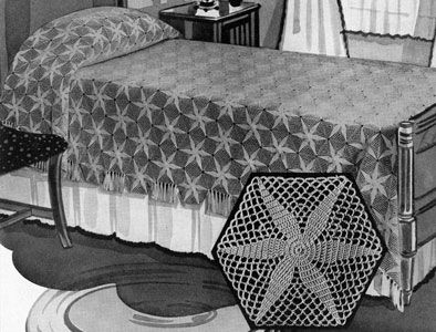 Radiant Star Bedspread crochet pattern from Bedspreads, originally published by the Spool Cotton Company, Book 151, in 1940.