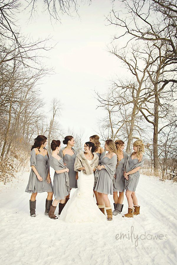 Bridesmaids. Winter. Uggs | Wedding Poses